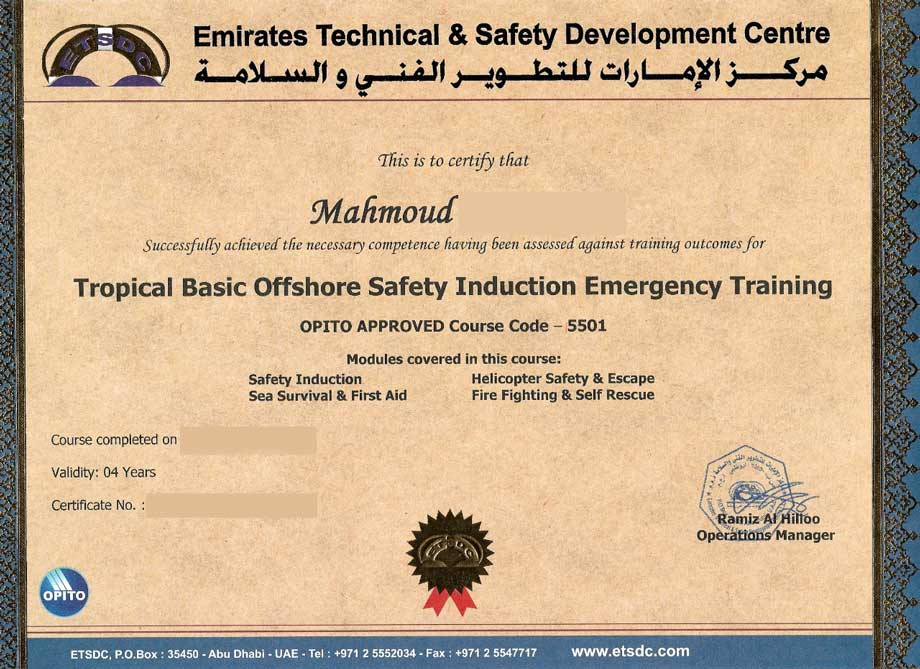 Health and Safety Certificate, Certified video production for Oil and Gas Video Production